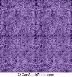 Vintage Purple Tapestry Pattern - Worn purple floral...