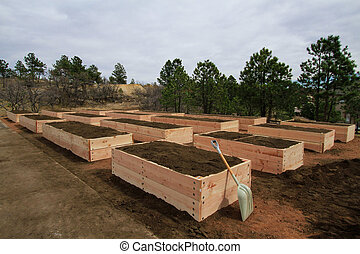 Raised Garden Beds - 16 neat newly prepared raised garden...
