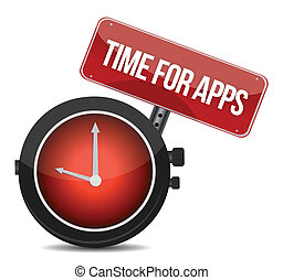 "Clock ""Time for APPS"" illustration design over white"