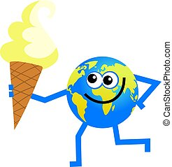 ice cream globe - cartoon world globe man holding a creamy...