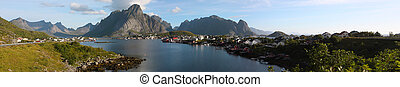 Reine - panorama view of fishing village Reine, Lofoten,...