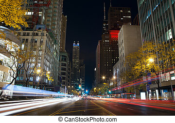 Michigan Avenue in Chicago - Image of busy traffic at...