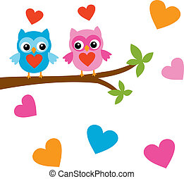 Valentines Day card - Birds in love on a tree...