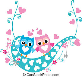 Valentines Day background - Birds on a swing...