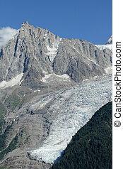 Aiguille du Midi and glacier des Bossons, France