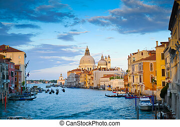 Canal Grande and Santa Maria della Salute church at sunset...