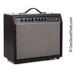 A black amp on a white background