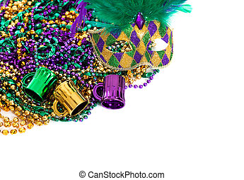Mardi gras beads on a white background with copy space