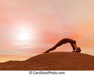 Upward facing pose, dwi pada viparita dandasana - 3D render...