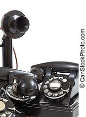 Un, grupo, vendimia, teléfonos, blanco, Plano de...