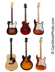 Group of six guitars on white background - A group of six...