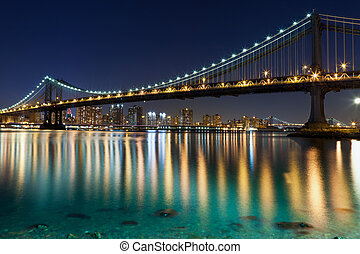 Manhattan Bridge, New York City - Manhattan Bridge with...