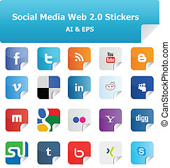 Social Media Web 2.0 Stickers 1 - This is a set of Vector...