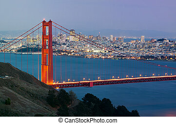 San Francisco - Image of Golden Gate Bridge with San...