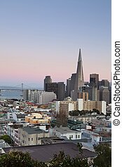 San Francisco - Image of San Francisco skyline after sunset.