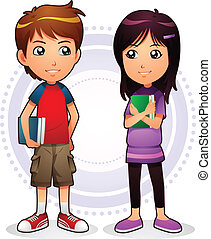 Boy and Girl - Image of boy and girl holding their books...