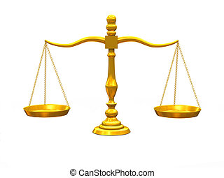 3d golden scale - 3d illustration of balance golden scale