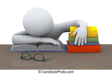 3d sleeping student - 3d illustration of tired man sleeping...