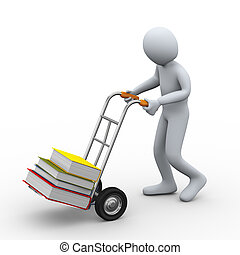 3d man with hand truck carrying books