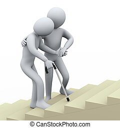 3d person helping old man - 3d illustration of old man being...