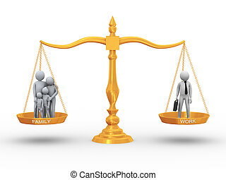 Balance between family and job - 3d illustration of family...