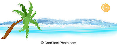 Exotic resort background - Abstract colorful sea beac....