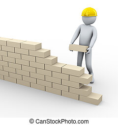 3d man building brick wall - 3d illustration of person...
