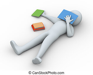 3d tired student sleeping - 3d illustration of man sleeping...