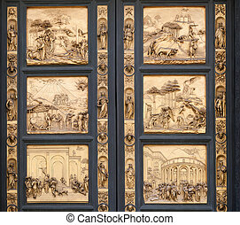 Fragment of the Florence Cathedral Baptistery doors - The...