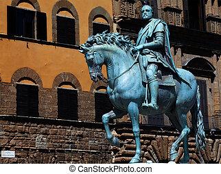The bronze statue of Cosimo I de' Medici - The bronze...