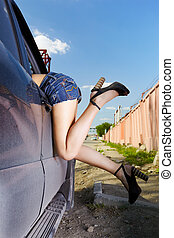 girl hitchhiker - outdoor portrait of young beautiful woman...