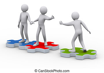 3d man on puzzle joining people - 3d illustration of person...