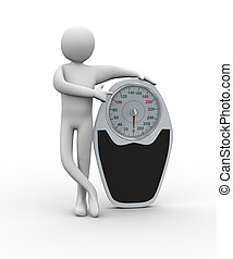 3d person pointing to weighing machine - 3d illustration of...