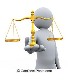 3D, hombre, tenencia, balance, escala