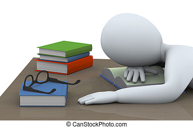3d sleeping man with books - 3d illustration of tired...
