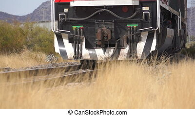 Close Up Train on Railroad Tracks - Close up shot of a train...
