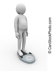 3d fat man on weighing machine - 3d illustration of...
