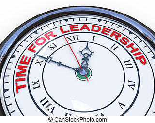 3d clock - time for leadership - 3d illustration of closeup...