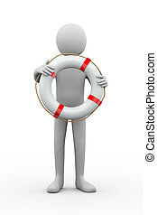 3d rescuer with lifebuoy ring