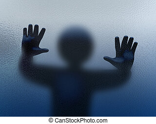 3d person shadow behind glass - 3d abstract illustration of...