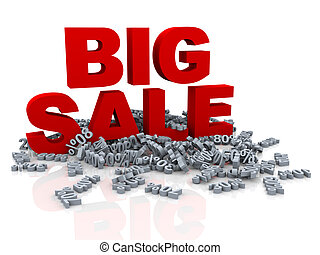 3d big sale and various percent - 3d illustration of red big...