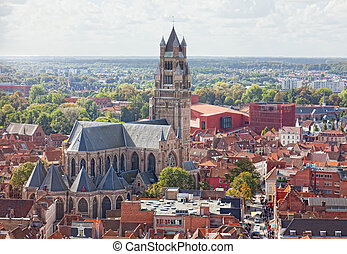 top view to Bruges and the cathedral St Sauveur, the oldest...