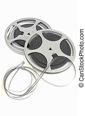 film reel - movie film reel slightly unraveled