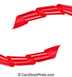 red curled ribbon frame