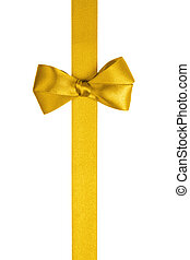 yellow ribbon with simple bow isolated on white background