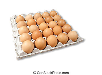 Carton of fresh brown eggs isolated on white background