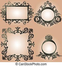 vector vintage frames set