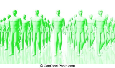 Men Walking 07 team green - Men Walking Business Concept -...
