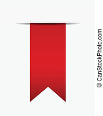 Red ribbon out of paper - Red ribbon out of white paper