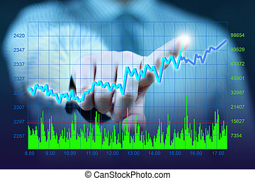 businessman touch virtual stock - businessman hand touch...